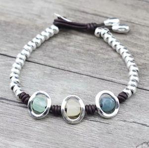 Anslow NWT Silver Quartz Leather Bracelet 7in